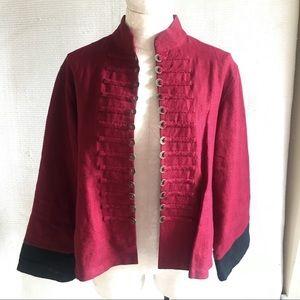 Vintage Linen Kimono Asian Military Band Jacket